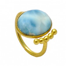 925 Sterling Silver Blue Larimar Oval Cabochon Gemstone Gold Plated Handmade Ring