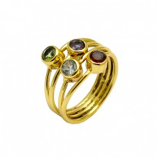 Peridot Garnet Amethyst Gemstone 925 Sterling Silver Gold Plated Ring Jewelry