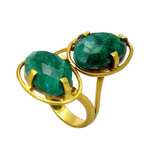 Stylish Designer Emerald Oval Shape Gemstone 925 Sterling Silver Gold Plated Rings
