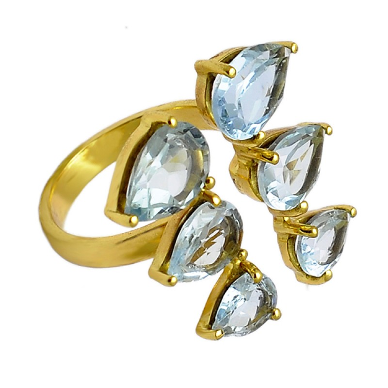 Pear Shape Blue Topaz Gemstone Handmade Prong Setting Gold Plated Ring Jewelry