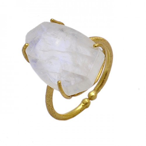 Raw Material Rainbow Moonstone 925 Sterling Silver Gold Plated Adjustable Ring