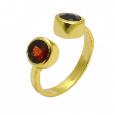 Faceted Round Shape Garnet Gemstone 925 Sterling Silver Gold Plated Ring