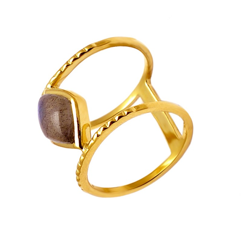 Cabochon Marquise Labradorite Gemstone Hammered Designer Gold Plated Ring