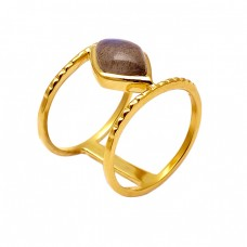 Cabochon Marquise Labradorite Gemstone Hammered Designer Gold Plated Ring