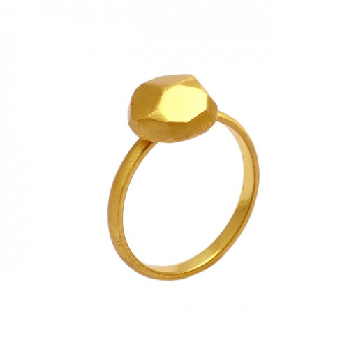 Handcrafted Designer Plain 925 Sterling Silver Gold Plated Hammered Ring Jewelry