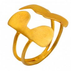 Plain Designer 925 Sterling Silver Adjustable Gold Plated Ring Jewelry