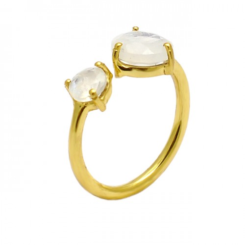 Round Shape Rainbow Moonstone 925 Sterling Silver Gold Plated Ring Jewelry