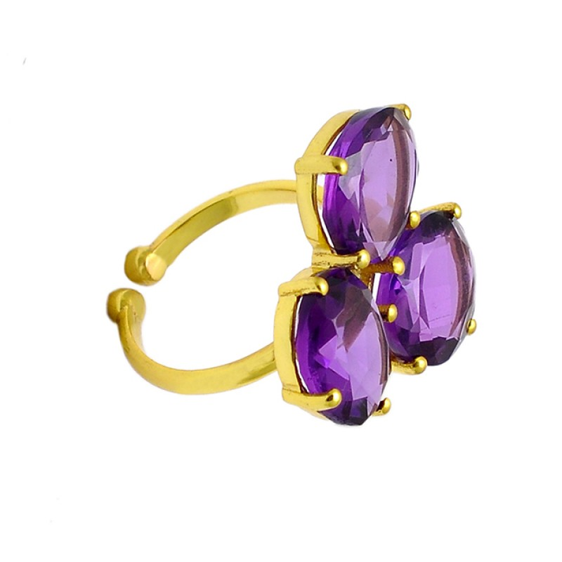 Faceted Oval Shape Amethyst Gemstone 925 Sterling Silver Gold Plated Adjustable Ring