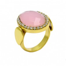 Rose Chalcedony Cz Gemstone 925 Sterling Silver Gold Plated Designer Ring Jewelry