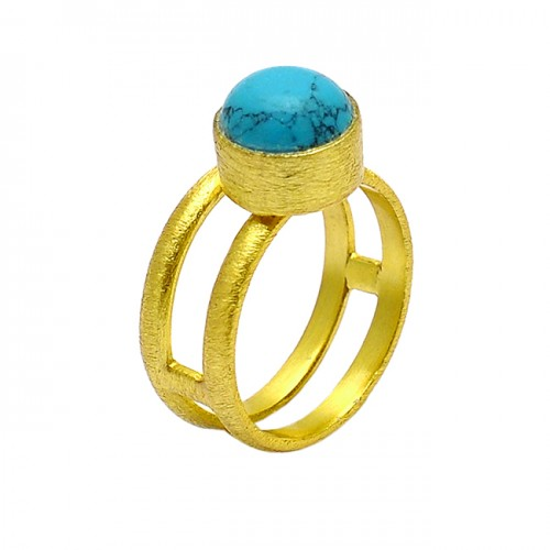 Round Shape Turquoise Gemstone 925 Sterling Silver Gold Plated Designer Ring