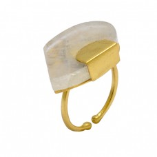 Fancy Shape Rainbow Moonstone 925 Sterling Silver Gold Plated Adjustable Ring