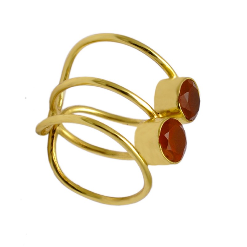 Carnelian Round Shape Gemstone Band Designer 925 Silver Gold Plated Ring Jewelry