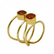 Carnelian Round Shape Gemstone Band Designer 925 Silver Gold Plated Ring Jewelry