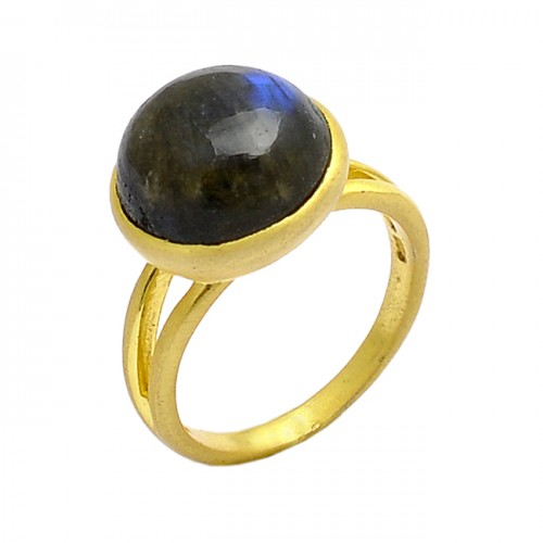 Round Shape Labradorite Gemstone 925 Sterling Silver Gold Plated Ring Jewelry