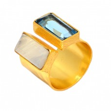 925 Sterling Silver Rectangle Shape Topaz Moonstone Latest Designer Gold Plated Ring