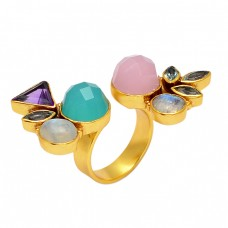 Multi Color Gemstone 925 Sterling Silver Gold Plated Designer Cocktail Ring Jewelry