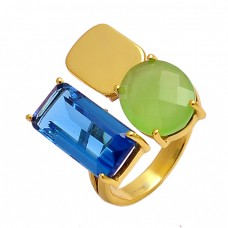 Tanzanite Chalcedony Gemstone 925 Sterling Silver Gold Plated Designer Ring