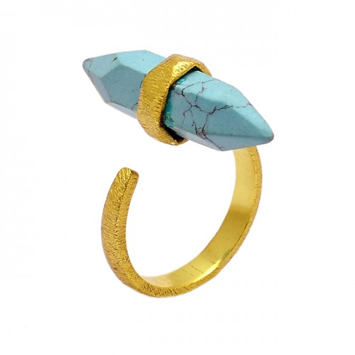 Pencil Shape Turquoise Gemstone 925 Sterling Silver Gold Plated Ring Jewelry
