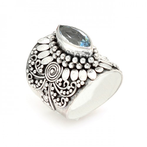 Vintage Handmade Blue Topaz Marquise Shape Gemstone 925 Sterling Silver Black Oxidized Rings