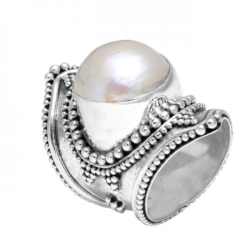 Black Oxidized Pearl Cabochon Round Gemstone 925 Sterling Silver Ring Jewelry