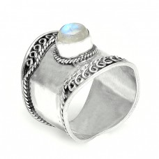 Rainbow Moonstone Round Cabochon Gemstone 925 Silver Vintage Designer Rings