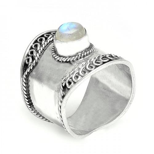 Rainbow Moonstone Round Cabochon Gemstone 925 Silver Vintage Designer Rings