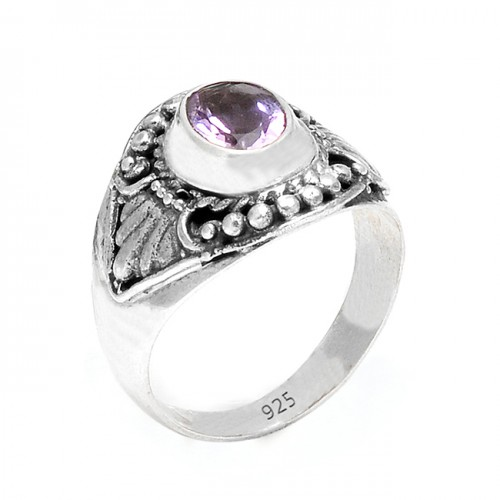 Handcrafted Amethyst Oval Gemstone 925 Sterling Silver Black Oxidized Rings Jewelry