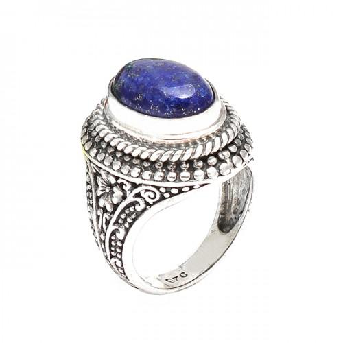Vintage Look Designer Blue Sapphire Cabochon Oval Gemstone Sterling Silver Rings