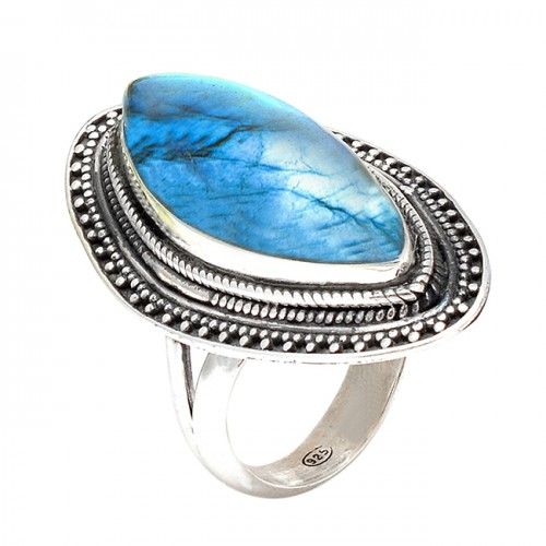 Nice Blue Fire Labradorite Cabochon Marquise Gemstone 925 Sterling Silver Black Oxidized Rings