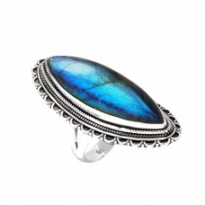 Cabochon Labradorite Marquise Shape Gemstone 925 Sterling Silver Black Oxidized Ring