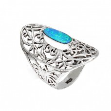 Blue Australian Opal Rectangle Gemstone 925 Sterling Silver Filigree Style Designer Rings