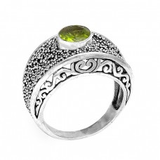 Faceted Round Peridot Gemstone 925 Sterling Silver Black Oxidized Ring Jewelry