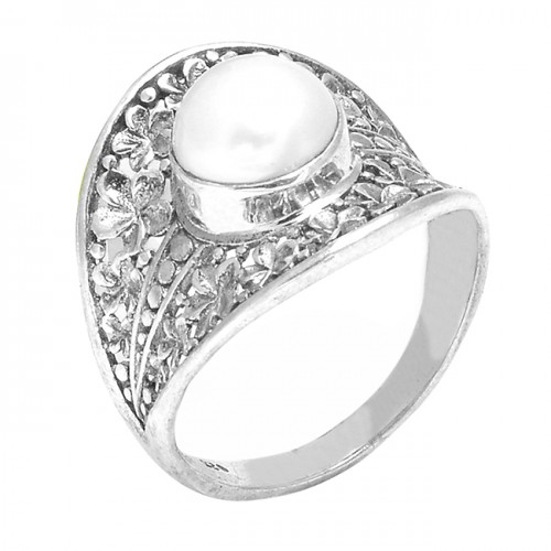 Cabochon Round Pearl Gemstone 925 Sterling Silver Handmade Ring Jewelry