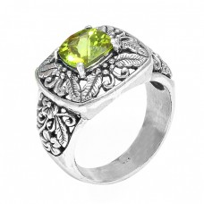 Peridot Square Shape Gemstone Black Oxidized Designer Sterling Silver Ring Jewelry