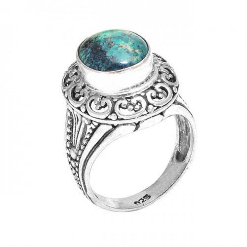 Oval Cabochon Turquoise Gemstone Handcrafted Vintage Style Silver Rings Jewelry