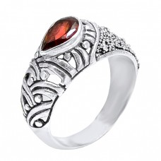 Garnet Oval Shape Gemstone Filigree Style Designer 925 Silver Ring Jewelry