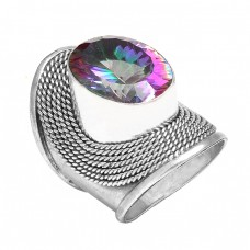 Mystic Topaz Oval Gemstone 925 Sterling Silver Vintage Look Designer Rings Jewelry