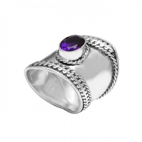 Designer Purple Amethyst Oval Gemstone 925 Sterling Silver Vintage Rings Jewelry