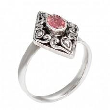 Handmade Oval Shape Garnet Gemstone 925 Sterling Silver Black Oxidized Ring jewelry