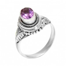 Stylish Designer Amethyst Oval Faceted Gemstone Handcrafted Silver Ring Jewelry