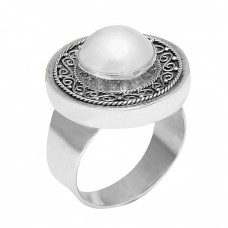 Latest Vintage Design Pearl Round Cabochon Gemstone 925 Sterling Silver Ring Jewelry