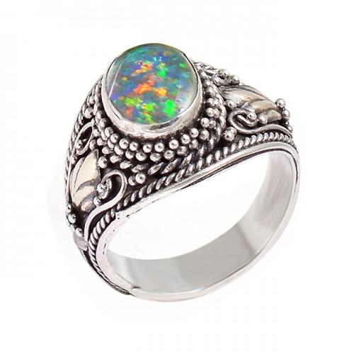 Handmade Designer Ethiopian Opal Oval Cabochon Gemstone Black Oxidized 925 Silver Rings