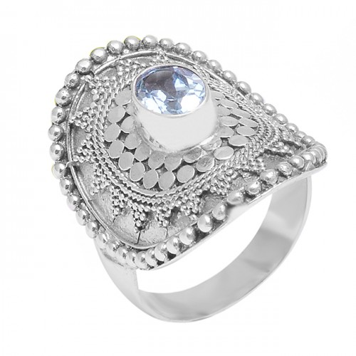 Handcrafted Designer Blue Topaz Oval Gemstone Vintage Style Silver Rings
