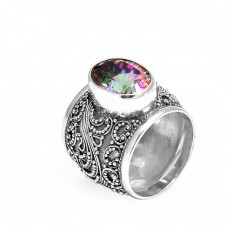 Style Vintage Look Mystic Topaz Oval Gemstone 925 Sterling Silver Ring Jewelry