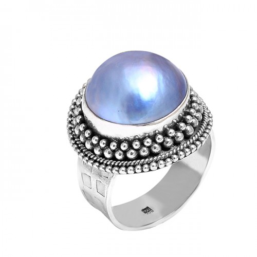 Round Cabochon Pearl Gemstone Handcrafted Black Oxidized Silver Ring Jewelry