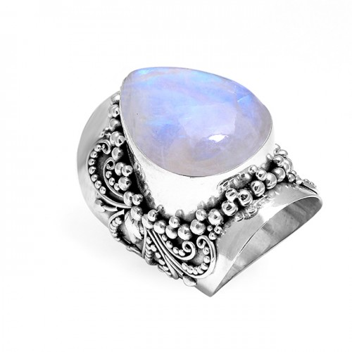 Fashionable Designer Rainbow Moonstone Pear Cabochon Gemstone 925 Sterling Silver Rings