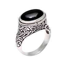 Attractive Design Black Onyx Oval Cabochon Gemstone 925 Sterling Silver Ring Jewelry