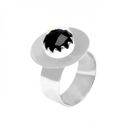 Handmade Designer Black Onyx Round Shape Gemstone 925 Sterling Silver Rings Jewelry