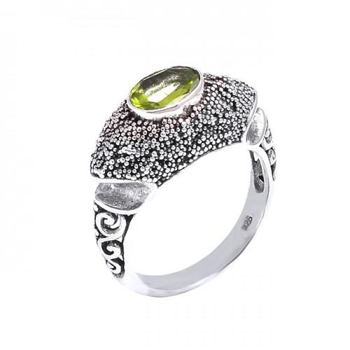 Stylish Black Oxidized Peridot Oval Gemstone 925 Sterling Silver Ring Jewelry