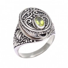 Black Oxidized Handcrafted Designer Peridot Oval Shape Gemstone 925 Silver Rings Jewelry